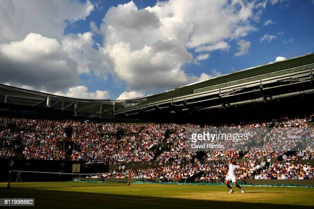A general view of court number one during the Gentlemen's Singles fourth round match between Rafael Nadal of Spain and Gilles Muller of Luxembourg on...