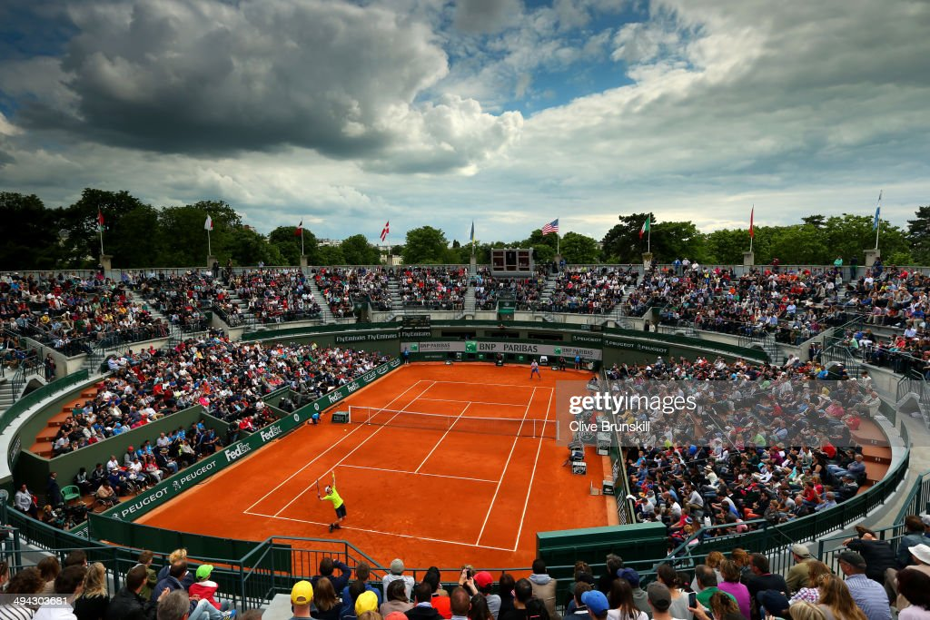 A general view of Court One as Andy Murray of Great Britain serves during his men's singles match against Marinko Matosevic of Australia on day five of the French Open at Roland Garros on May 29, 2014 in Paris, France.