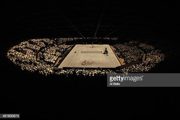 A general view of court one as Marin Cilic of Croatia plays against Novak Djokovic of Serbia during their Gentlemen's Singles quarterfinal match on...