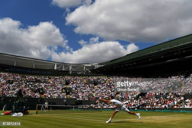 A general view of court one as Marin Cilic of Croatia returns during the Gentlemen's Singles quarter final match against Gilles Muller of Luxembourg...