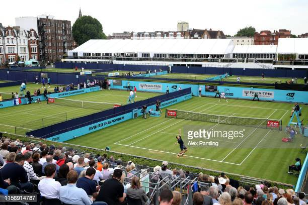 General view of Court One as Marton Fucsovics of Hungary serves during his First Round Singles Match against Feliciano Lopez of Spain during day...