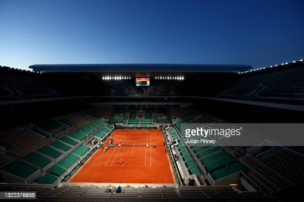 General view of Court Philippe Chatrier as Marta Kostyuk of Ukraine faces Iga Swiatek of Poland in the ladies singles fourth round during day nine of...