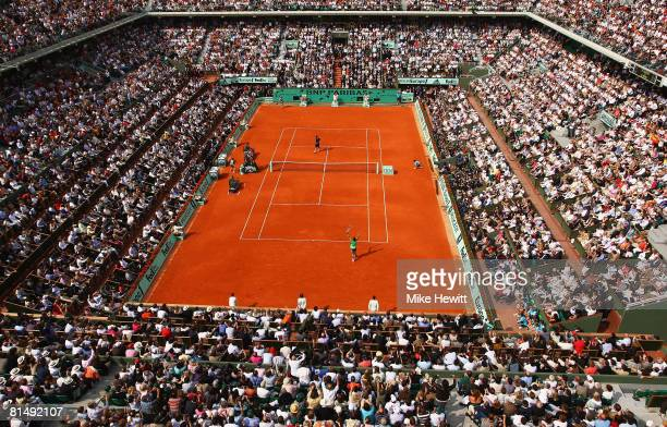 General view of Court Philippe Chatrier as Rafael Nadal of Spain celebrates winning matchpoint during the Men's Singles Final match against Roger...