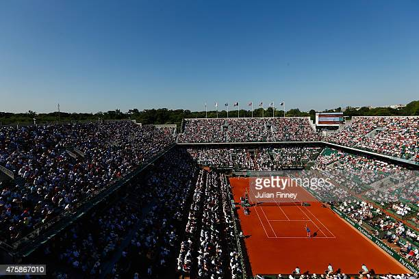 A general view of Court Philippe Chatrier as Timea Bacsinszky of Switzerland serves in her Women's Semi final match against Serena Williams of the...