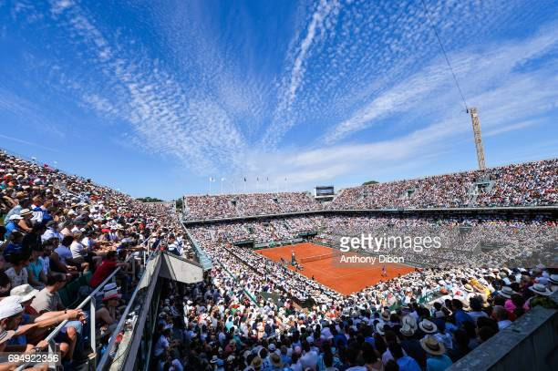 General view of court Philippe Chatrier during the day 15 of the French Open at Roland Garros on June 11 2017 in Paris France