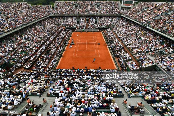 A general view of Court Philippe Chatrier during the final match between Rafael Nadal of Spain and Dominic Thiem of Austria at the French Open tennis...