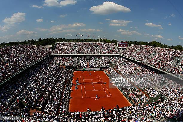 A general view of Court Philippe Chatrier during the men's singles final match between Rafael Nadal of Spain and Novak Djokovic of Serbia on day...