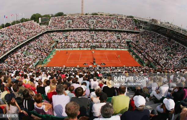 General view of Court Philippe Chatrier during the Men's Singles Final match between Roger Federer of Switzerland and Rafael Nadal of Spain on day...