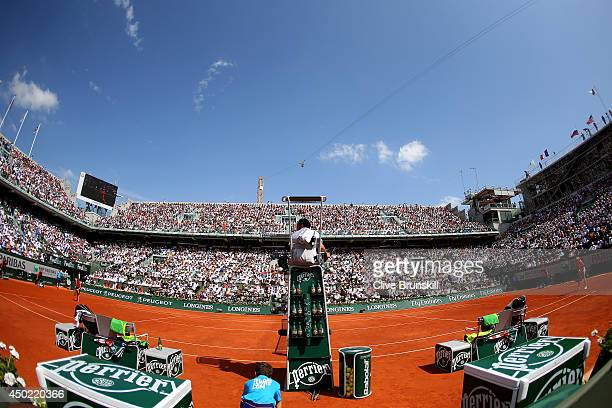 A general view of Court Philippe Chatrier during the women's singles final match between Simona Halep of Romania and Maria Sharapova of Russia on day...