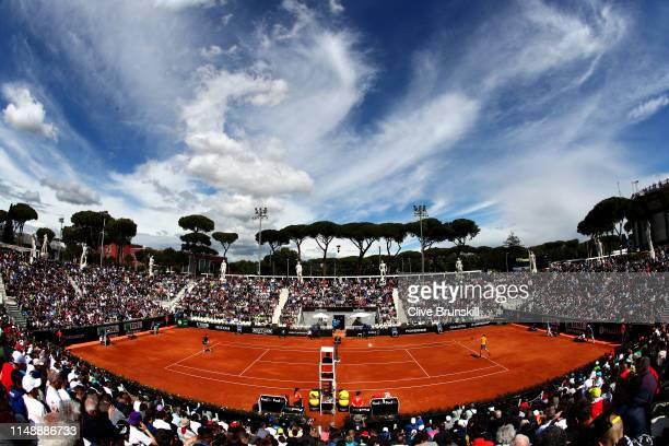 A general view of court Pietrangeli as Denis Shapovalov of Canada plays against Pablo Carreno Busta of Spain in their first round match during day...