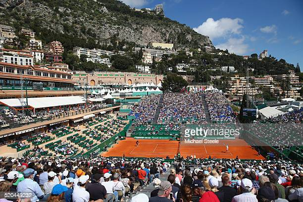 General view of Court Rainier III as Gael Monfils of France plays Gilles Muller of Luxemburg during day two of the Monte Carlo Rolex Masters at...