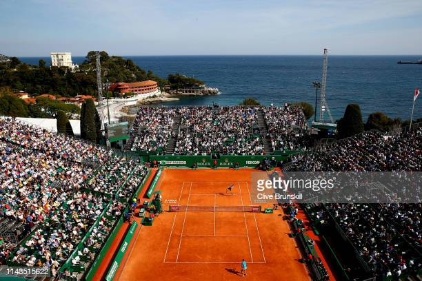 A general view of Court Rainier III as Rafael Nadal of Spain plays against Grigor Dimitrov of Bulgaria in their third round match during day five of...