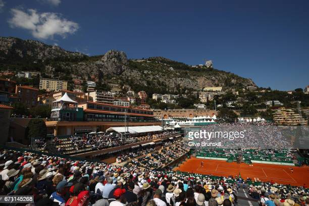A general view of Court Rainier lll as Lucas Pouille of France plays against Pablo Cuevas of Uruguay in their quarter final round match on day six of...