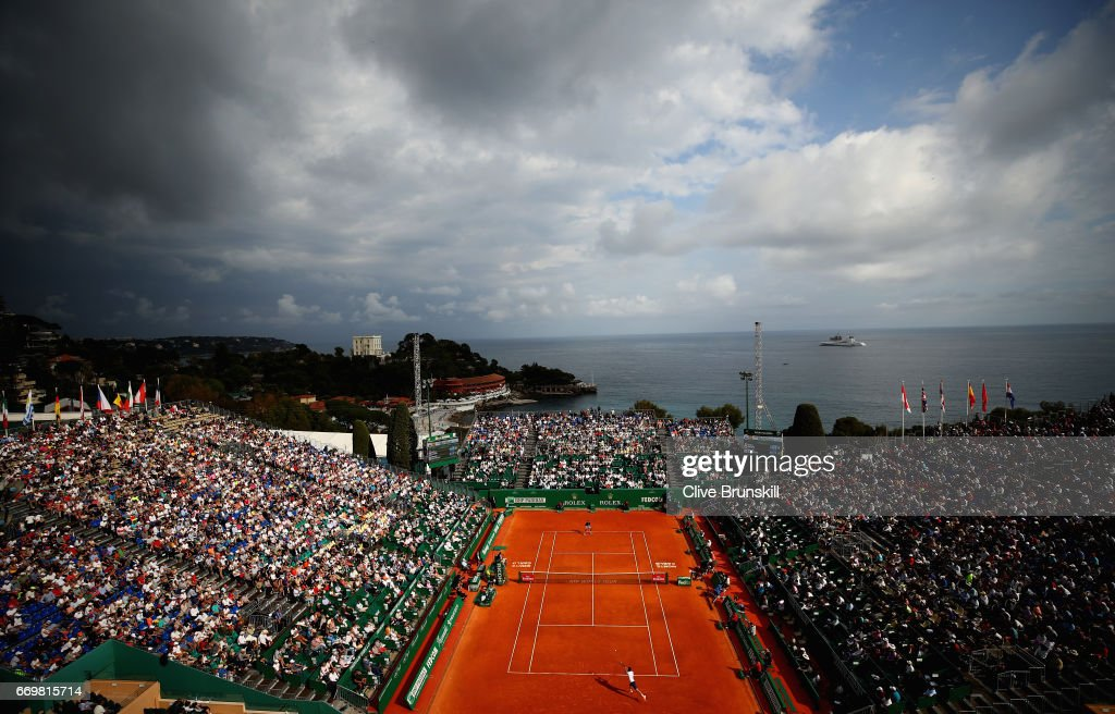 A general view of Court Rainier lll as Novak Djokovic of Serbia plays against Gilles Simon of France in their second round match on day three of the Monte Carlo Rolex Masters at Monte-Carlo Sporting Club on April 18, 2017 in Monte-Carlo, Monaco.