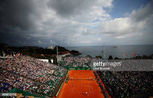 General view of Court Rainier lll as Novak Djokovic of Serbia plays against Gilles Simon of France in their second round match on day three of the...
