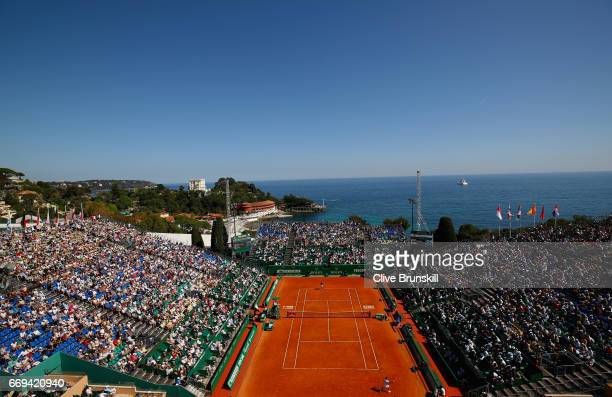 A general view of Court Rainier lll as Pablo Carreno Busta of Spain plays against Fabio Fognini of Italy in their first round match on day two of the...