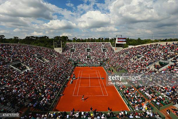 A general view of court Suzanne Lenglen as Gael Monfils of France and Edouard RogerVasselin of France compete in their Men's Singles match on day two...