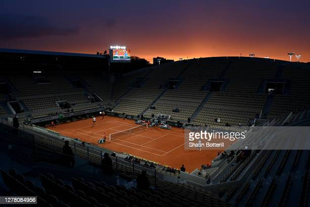 General view of Court Suzanne Lenglen during the Men's Singles third round match between Alexander Zverev of Germany and Marco Cecchinato of Italy on...