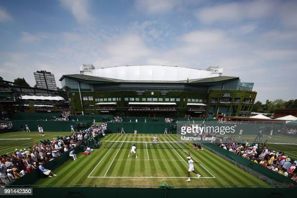 A general view of Court Ten during the Men's Doubles first round match between Robin Haase of the Netherlands and Robert Lindstedt of Sweden and Ivan...