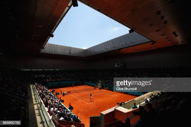 A general view of Court three as Denis Shapovalov of Canada plays against Benoit Paire of France in their second round match during day four of the...
