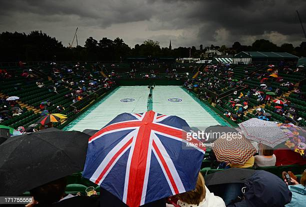 A general view of court two as rain delays the Ladies' Singles third round match between Marion Bartoli of Italy and Camila Giorgi of Italy on day...