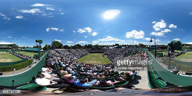 General view of Court Two on day nine of the Wimbledon Lawn Tennis Championships at the All England Lawn Tennis and Croquet Club on July 6 2016 in...