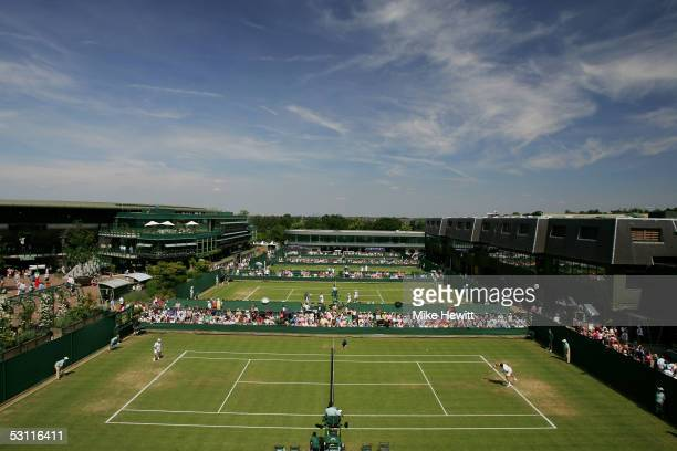 A general view of courts between Court One and Centre during the third day of the Wimbledon Lawn Tennis Championship on June 22 2005 at the All...