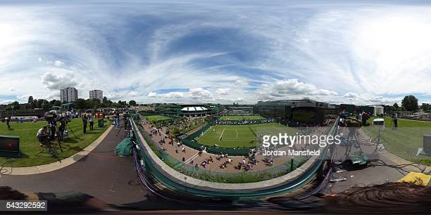 A general view of courts during day one of the Wimbledon Lawn Tennis Championships at the All England Lawn Tennis and Croquet Club on June 27 2016 in...