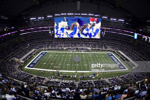 General view of Cowboys Stadium and scoreboard before a game between the Dallas Cowboys and the Carolina Panthers on September 28, 2009 in Arlington,...