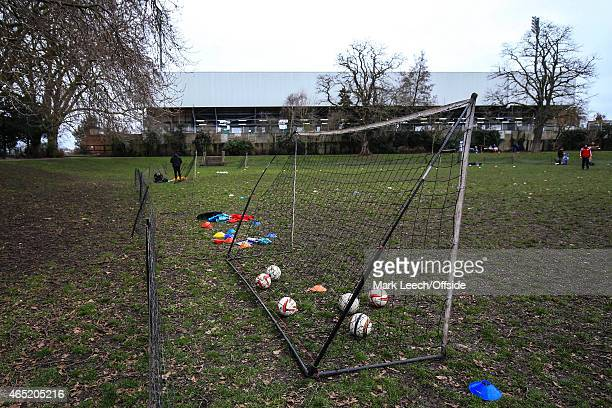 A general view of Craven Cottage from amateur football pitches in the adjacent park during the Sky Bet Championship match between Fulham and Derby...