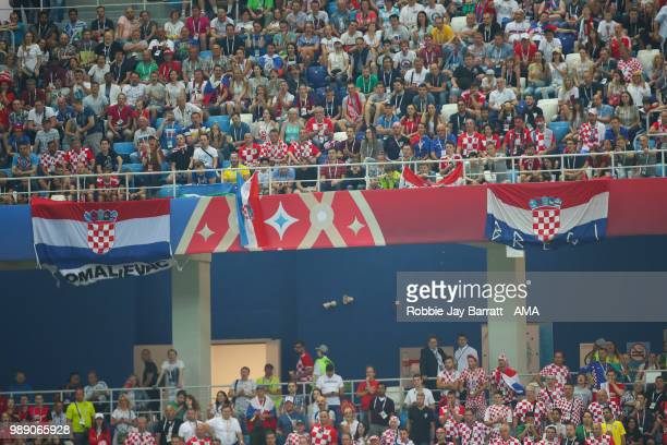General View of Croatia fans and flags during the 2018 FIFA World Cup Russia Round of 16 match between Croatia and Denmark at Nizhny Novgorod Stadium...