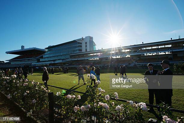 General view of crowd during Melbourne racing at Flemington Racecourse on June 22 2013 in Melbourne Australia