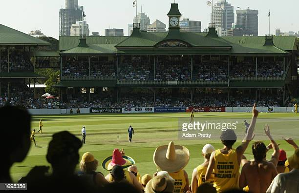 General view of crowd entertained by cricket action during the One Day International match between Australia and England held at the Sydney Cricket...