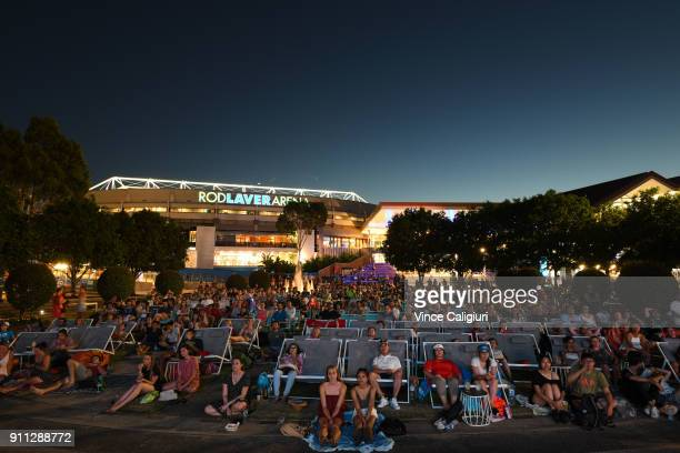 General view of crowd in garden square during Men's singles final match between Roger Federer of Switzerland and Marin Cilic of Croatia on day 14 of...