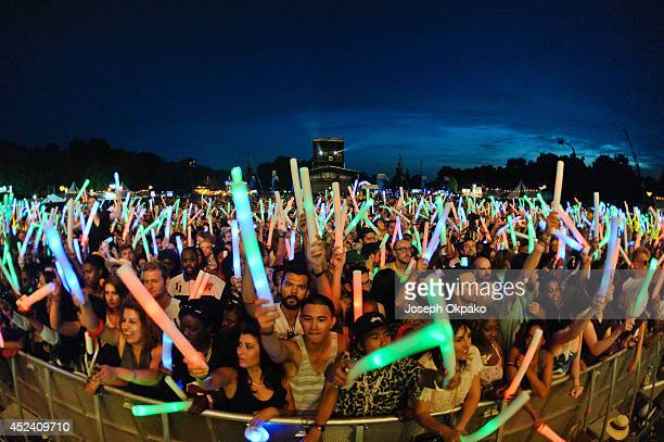 General view of crowd with glowsticks at Lovebox 2014 at Victoria Park on July 19 2014 in London United Kingdom