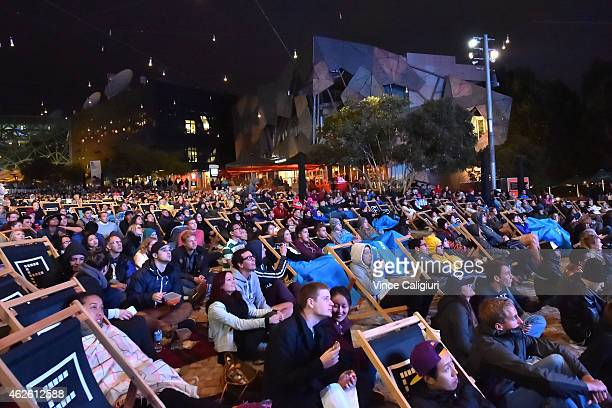 General view of crowds at Federation Square watching mens final between Novak Djokovic of Serbia and Andy Murray of Great Britain during the 2015...