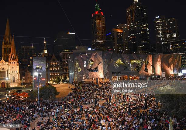 General view of crowds at Federation Square watching Men's Singles Final match between Novak Djokovik of Serbia and Andy Murray of Great Britain...