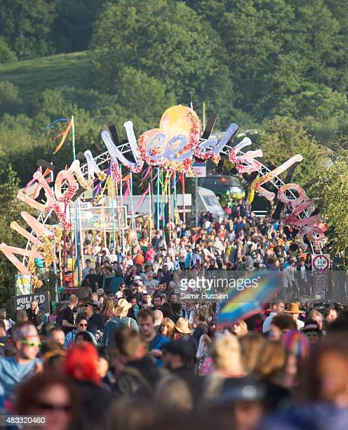 A general view of crowds at the Glastonbury Festival at Worthy Farm Pilton on June 28 2015 in Glastonbury England