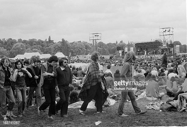 General view of crowds at the Reading Festival, 26th June 1971.