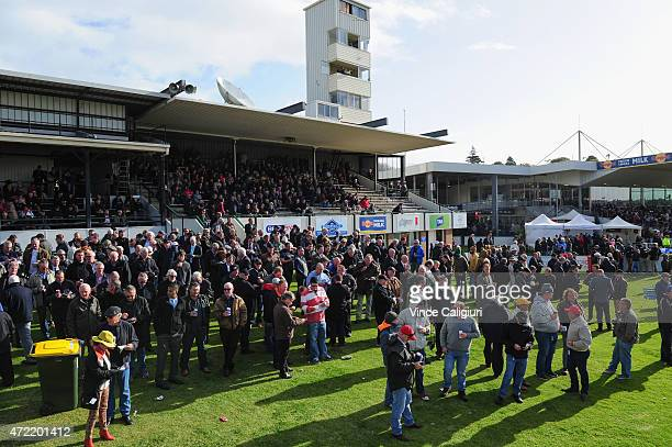 General view of crowds during Brierly Day at Warrnambool Racing Club on May 5 2015 in Warrnambool Australia