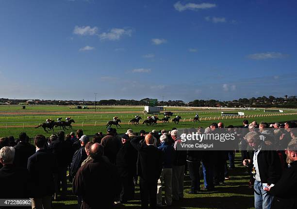 General view of crowds during Galleywood Day at Warrnambool Racing Club on May 6 2015 in Warrnambool Australia