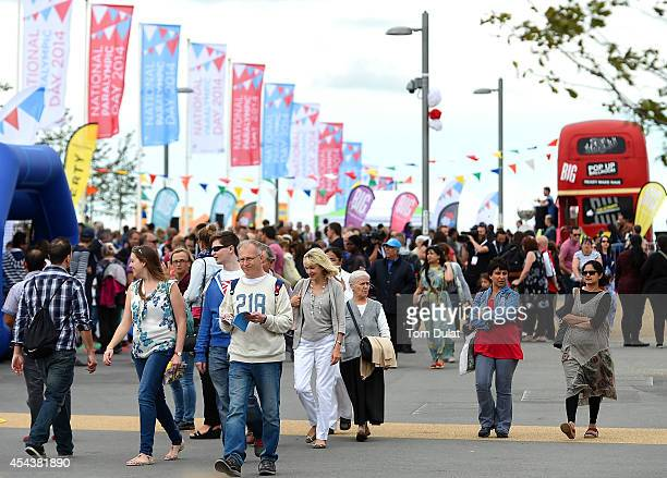 General view of crowds during the National Paralympic Day at the Olympic Park on August 30 2014 in London England