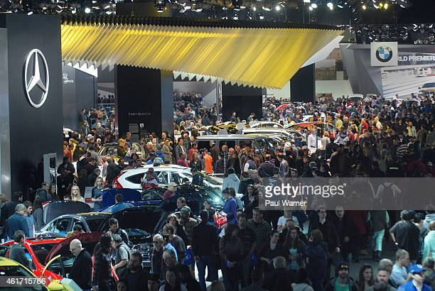 General view of crowds during the opening day of the 2015 North American International Auto Show at Cobo Center on January 17, 2015 in Detroit,...