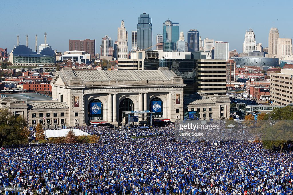A general view of crowds gathered in front of Union Station as the Kansas City Royals players hold a rally and celebration following a parade in honor of their World Series win on November 3, 2015 in Kansas City, Missouri.