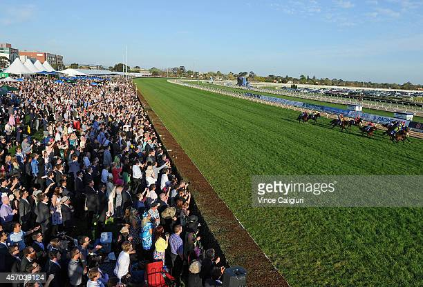 General view of crowds in Race 10 during Caulfield Guineas Day at Caulfield Racecourse on October 11 2014 in Melbourne Australia