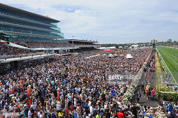 General view of crowds in race 7 the Emirates Melbourne Cup on Melbourne Cup Day at Flemington Racecourse on November 3 2015 in Melbourne Australia