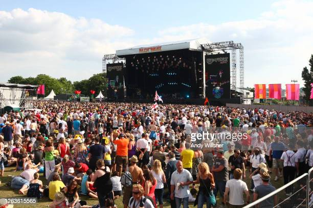 General view of crowds of festival goers in front of the stage as New York based indie band Vampire Weekend perform at the Isle of Wight music...