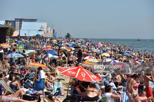 General view of crowds on the beach on June 25, 2020 in Southend-on-Sea, England. The UK is experiencing a summer heatwave, with temperatures in many...