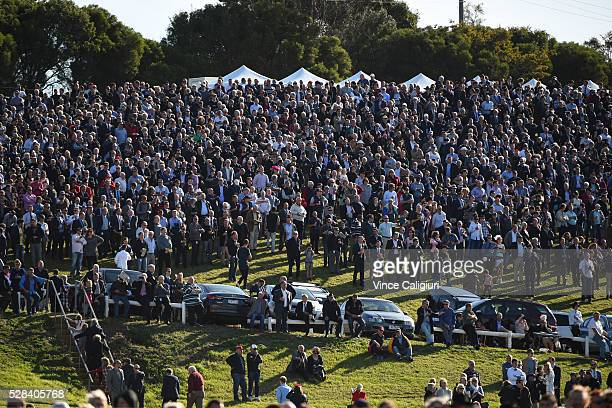 General view of crowds on the hill watching Race 7 Grand Annual Steeplechase during Grand Annual Day at Warrnambool Race Club on May 5 2016 in...