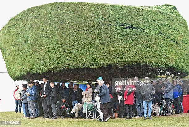 General view of crowds sheltering under the trees during Grand Annual Day at Warrnambool Racing Club on May 7 2015 in Warrnambool Australia